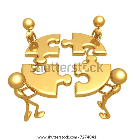 Putting The Team Puzzle Together - stock photo