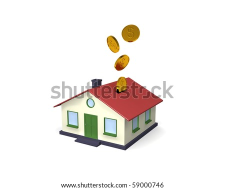 Putting your money where it counts with home investments. A simple 3D house coin bank with coins falling into it from above. Isolated on White.
