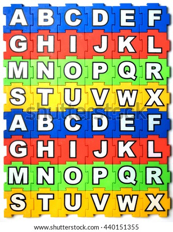 Puzzle ABC on white background - stock photo
