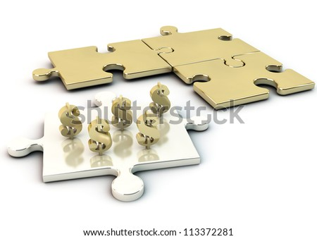 Puzzle and icon dollar in gold and silver - stock photo
