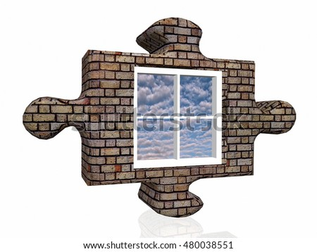 puzzle and window 3D illustration