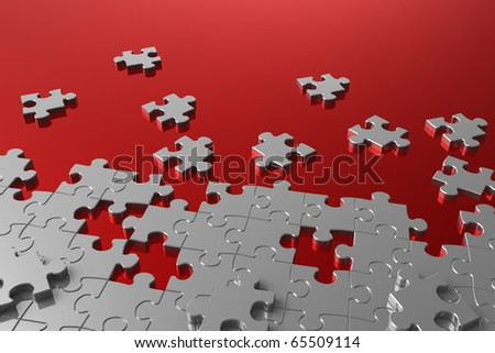 Puzzle assembly - stock photo