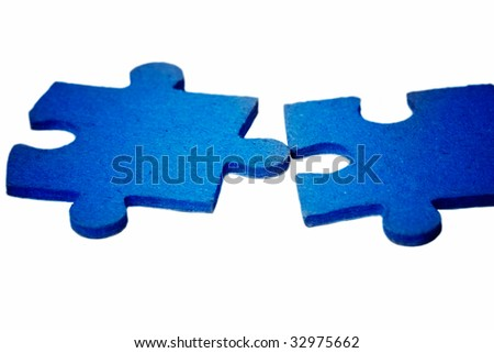 puzzle - blue contact - stock photo