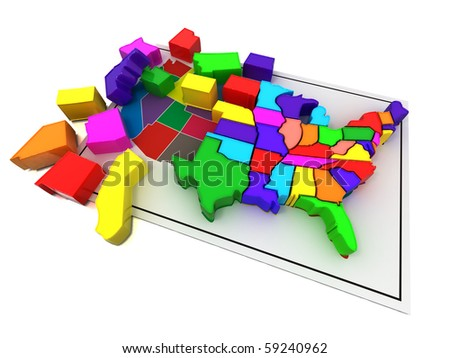 Puzzle build USA. 3d - stock photo