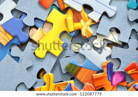 Puzzle colorful background - stock photo