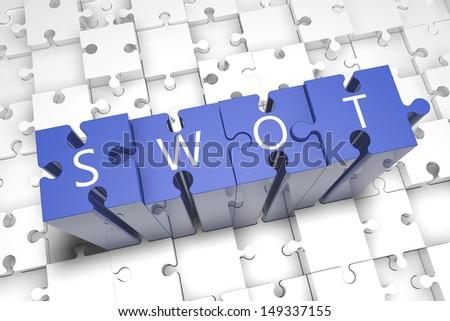 Puzzle concept: acronym SWOT on blue jigsaw pieces - stock photo
