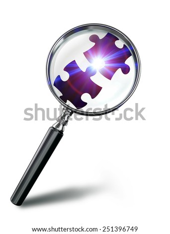 puzzle connection concept with magnifying glass on white background. clipping path included - stock photo