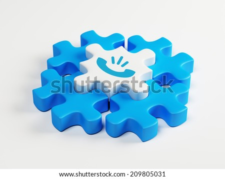 Puzzle Contact Icon isolated on white