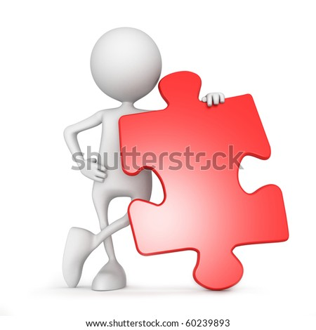 Puzzle. 3d image isolated on white background. - stock photo