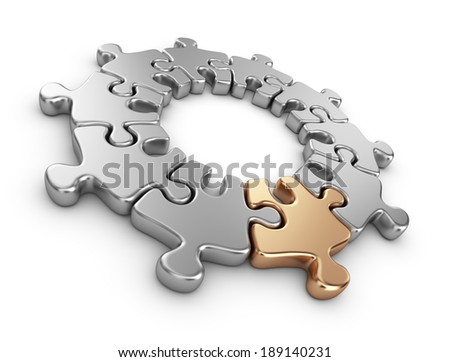 Puzzle 3D. Innovate concept. Isolated on white background - stock photo