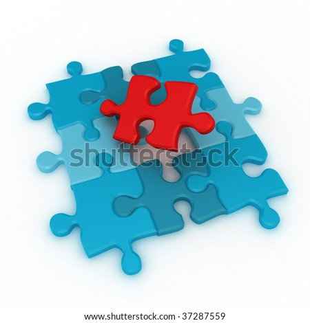 Puzzle 1. 3d rendering image. - stock photo