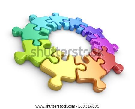 Puzzle 3D. Team work concept. Isolated on white background - stock photo