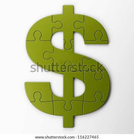 puzzle dollar with clipping path - stock photo