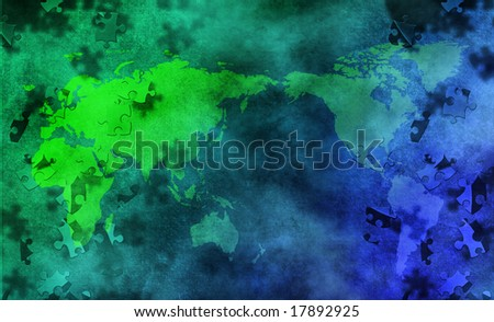 Puzzle earth - stock photo