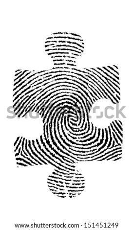 Puzzle Fingerprint - stock photo
