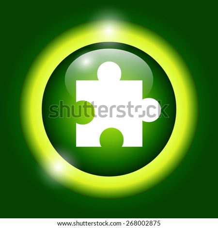 puzzle Flat Icon, isolated on green background. - stock photo