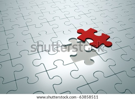 Puzzle game - this is a 3d render illustration - stock photo