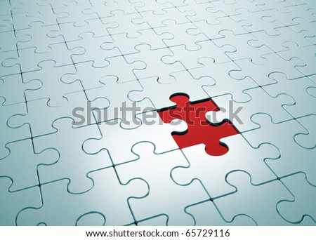 Puzzle game with missing piece- this is a 3d render illustration - stock photo