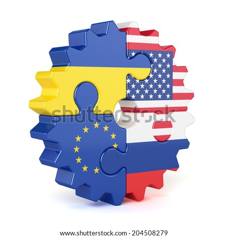 Puzzle gear of stacked flags European Union, USA, Russia, and Ukraine. Isolated on white background - stock photo