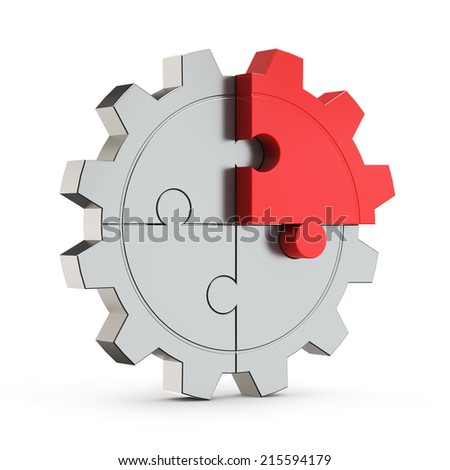puzzle gear red part (creativity) isolated white background with clipping path - stock photo