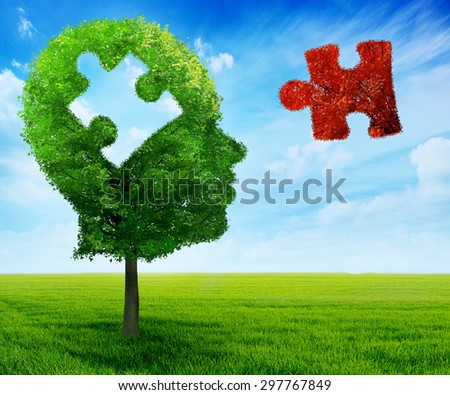 Puzzle head brain mental health symbol concept. Tree in a shape of human head face profile with jigsaw piece cut out on blue sky background. - stock photo