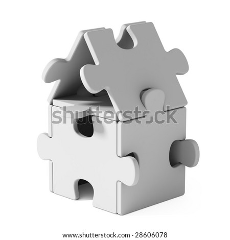 Puzzle home - stock photo