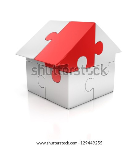 puzzle house one red piece 3d illustration - stock photo