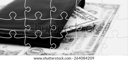 Puzzle  image of a black leather wallet - stock photo