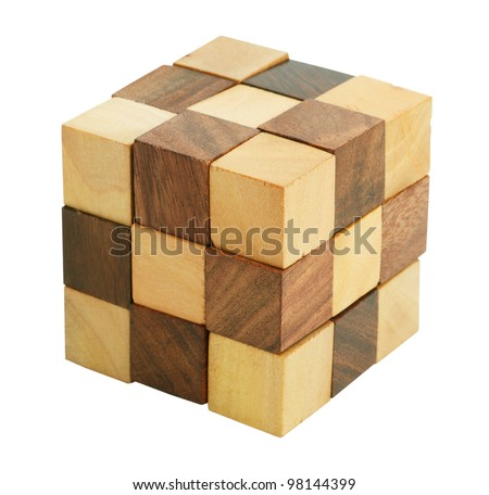 Puzzle in the form of wooden blocks on a white background - stock photo