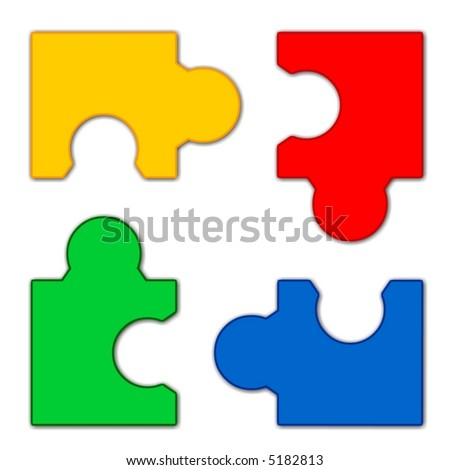 Puzzle isolated 4 pieces