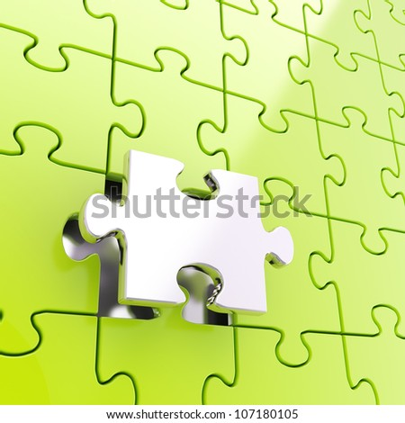 Puzzle jigsaw green background with one silver metal piece stand out - stock photo