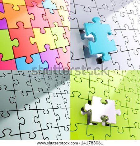 Puzzle jigsaw pieces background composition, set of four - stock photo