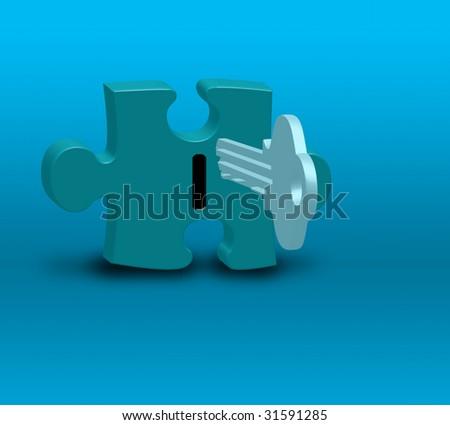 Puzzle Key - stock photo