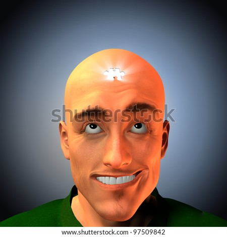 Puzzle man grins - stock photo