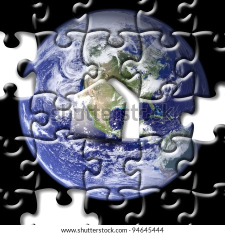 puzzle of earth - stock photo