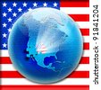 Puzzle on globe view to North America and with flag USA inside - stock photo