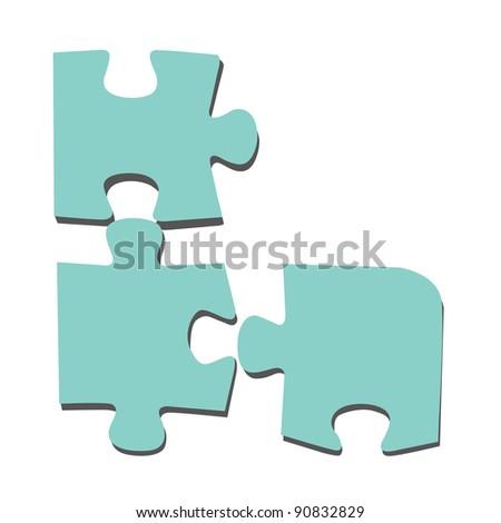 puzzle on white background - stock photo