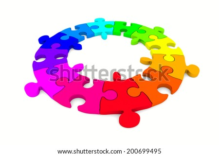 Puzzle on white background. Isolated 3D image - stock photo