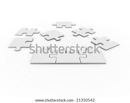 puzzle over a white background - stock photo