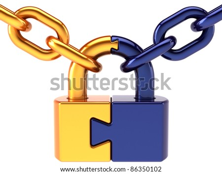 Puzzle padlock closed lock with chain colored golden blue. Security access password hold concept. Secret code still encryption abstract. Detailed 3d render. Isolated on white background - stock photo