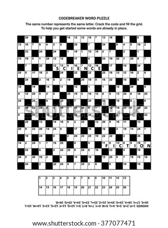 Puzzle page with codebreaker (or codeword, or code cracker) word game. Answer included.  - stock photo