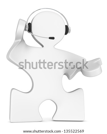 Puzzle People with headset. White.
