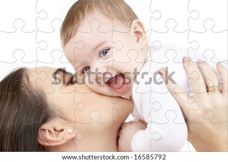 puzzle picture of happy mother with baby over white - stock photo