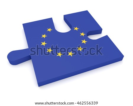 Puzzle Piece EU Flag Missing Stars, 3d illustration