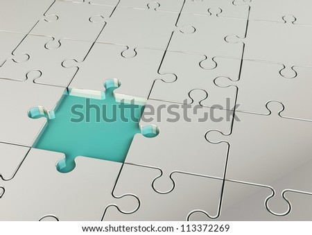Puzzle piece metal with a blue piece - stock photo