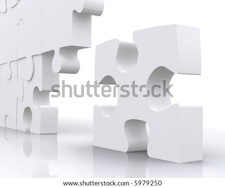 puzzle piece next to the big group standing out - stock photo