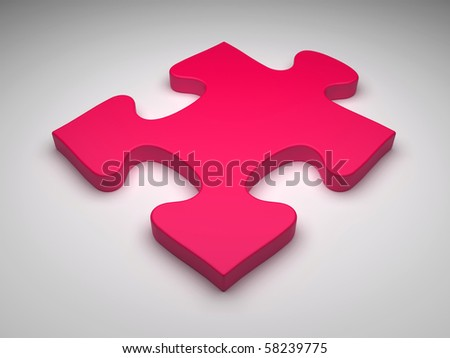 Puzzle piece on gray background - stock photo