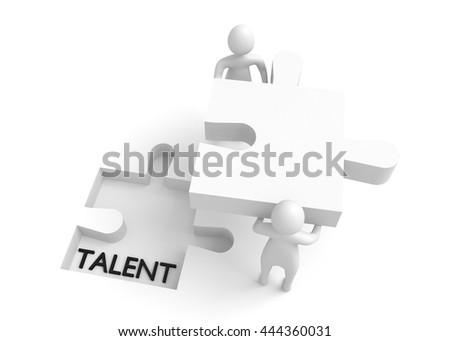 Puzzle piece: Talent and work, 3d illustration
