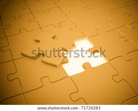 Puzzle piece the missing piece - stock photo