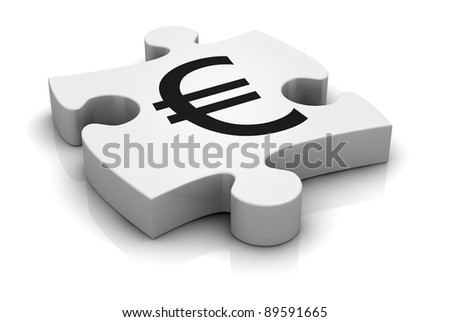 puzzle piece with the symbol of euro currency (3d render) - stock photo